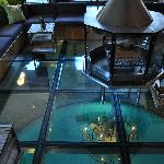 Glass floor of lobby viewing pool