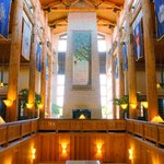 Soaring timbers and stone fireplaces greet you in the Lied Lodge lobby.
