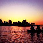Canoe at sunset at Satpura