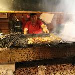 Chef preparing the kebabs