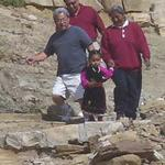 Hopi cliff trail with guide & granddaughter