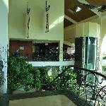 Resort glassed elevator and bar