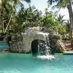 Waterfall pool with children's pool.