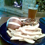 Pretzel roll chicken sandwich, a Schlafly Winter ESB and the fireplace