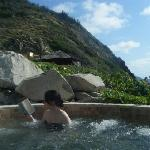 Jacuzzi cut into the rock of the Island - I was reading Treasure Island, and as it turned out, t