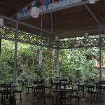 The indorr/outdoor seating is lovely and overlooks the lush rainforests in the area