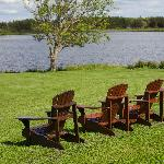 chairs in front of the lake