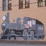 Train drawn on a wall downtown