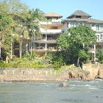 the view of the hotel from the riverbed