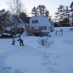 A view of the back of the Lodge...my kids & dog playing in the snow