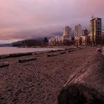 砂浜と丸太
