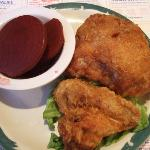 Fried chicken (buttered beets as side dish)