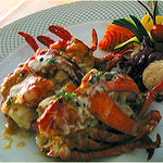 Restuffed Roasted Lobster and Scallops with Truffle, Gruyere Cheese and Lobster Sauce
