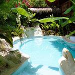 Relaxing salt water pool and swim-up bar