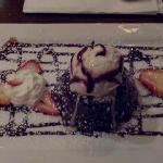 Decadent chocolate fudge-filled cake dessert