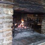 gorgeous open fire in restaurant