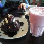 Giant Brownie and fresh strawberry shake