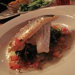 Sea bass, with taragon tomatoes and garlic spinach