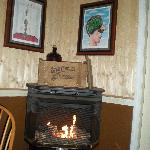 The gas fire stove in the dining area
