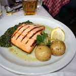 Grilled salmon with new potatoes