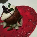 crab cake with beet and grainy mustard sauce