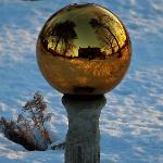 The gazing ball in the front yard