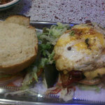 burger with fried egg and bacon