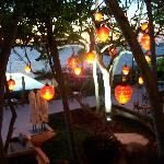 lanterns on the patio