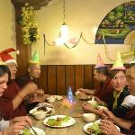 Friends and Guest and Tibetan Monks Celebrating Christmas Eve