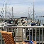 "A view from the ""Port/Starboard"" porch overlooking Gratitude Marina and gives a full view of the"