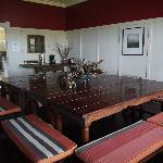 Dining room -- great idea to have four tables and benches all around