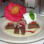 Chocolate Crepes (the flower wasn't part of the dessert's decoration -- it was put there by a fr