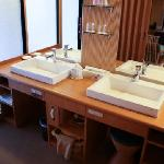 Sink area near room onsen and shower