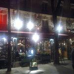 Restaurant exterior at night