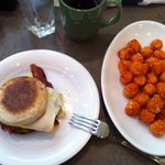 breakfast sandwich and sweet potato tots