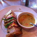 roadhouse club with the soup of the day, I already at the other half of this huge yummy sandwich