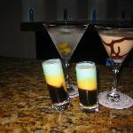 Martini, Chocolate Martini and Bumble Bee Shots