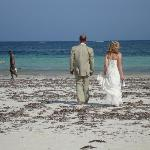 Walking on the beach after our wedding