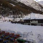 From the balcony looking at the ski school meeting point