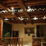 Hotel lobby adorned with wine collection