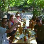 Brad (front right) and guests having lunch during ATV tour