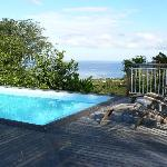 Terrasse avec vue piscine et ilets Pigeon