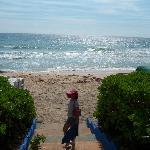 esta es la playa que esta frente al hotel con toldos y sillas de playa