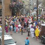 View from balcony on Mardi Gras