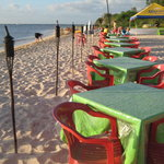 tables along the beach