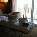 hotel Sotelia, sul letto del bambino tutto il necessario per il bagno