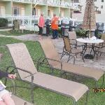 shot of BBQ grills and lounging area