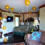 Happy Birthday Balloons I had delivered before we arrived