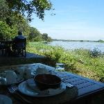 View from the breakfast table over the Zambezi River
