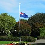 Flag outside hotel